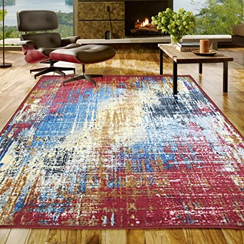 Superior s Designer Non-slip Arona Area Rug Digitally Printed, Low Maintenance, Affordable and Fashionable, Multi-Color – 5 x 8