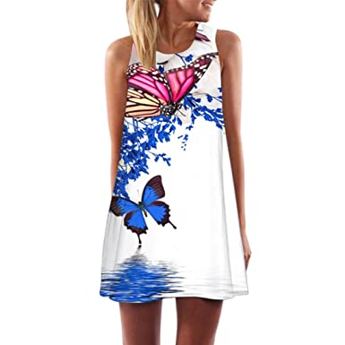 Minisoya Women Summer Boho Beach Sundress Casual Loose Vintage Sleeveless 3D Butterfly Floral Short Mini Dress