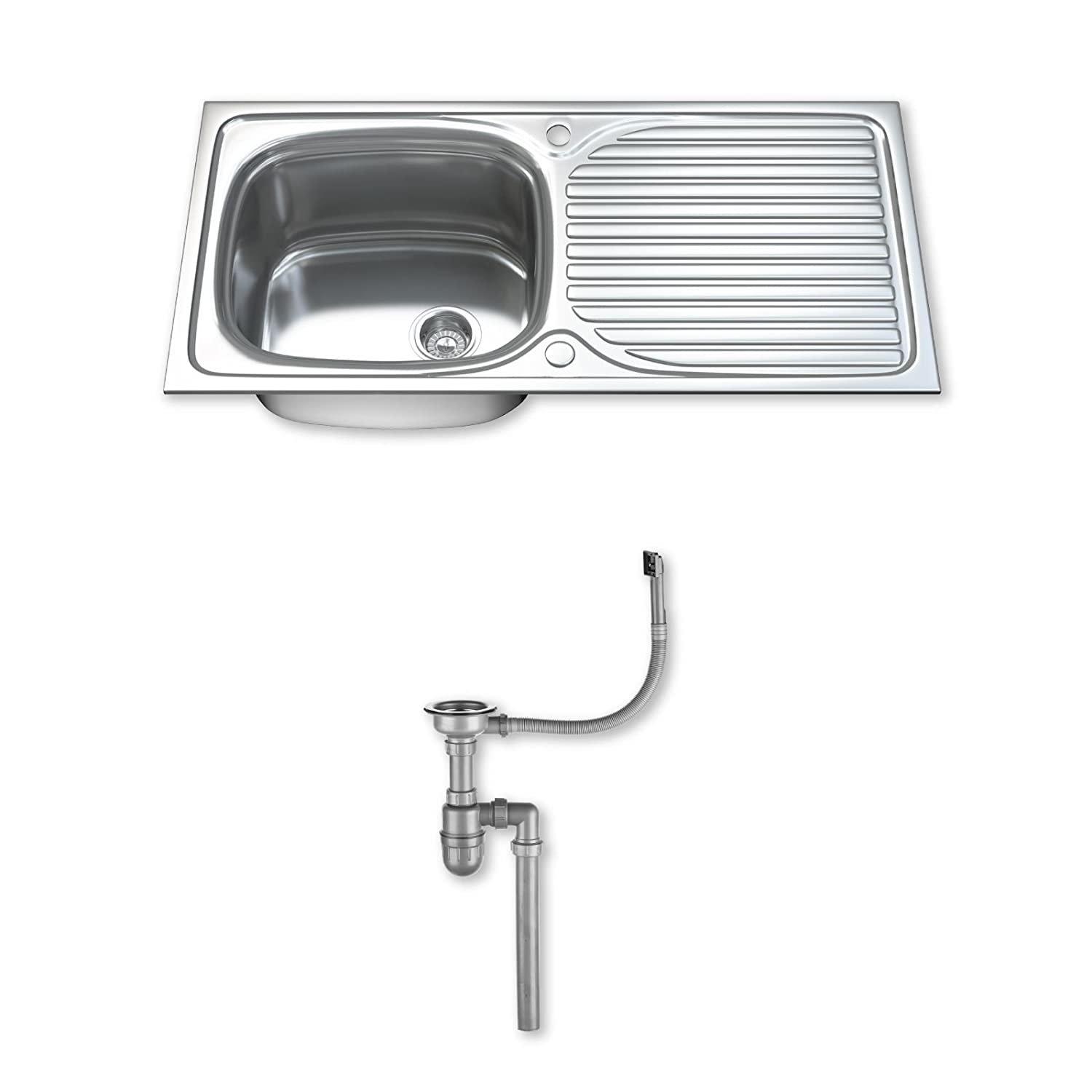 Dihl KS-1003-WST1 1.0 Single Bowl Stainless Steel Kitchen Sink with Drainer and Waste - Chrome KSW-1003-WST1