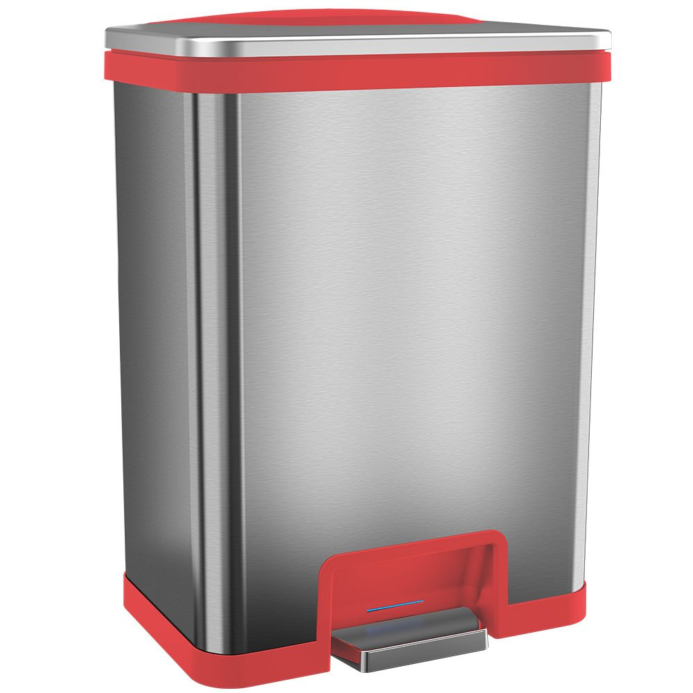 Halo 13 Gallon Automatic STEP Trash Can, Sensor Activated Stainless Steel Kitchen Trash Can with Odor Control System (Red)