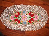 Hand Made Hand Embroidered Hungarian Kalocsa Famous Lace/ 55 Xs31cm