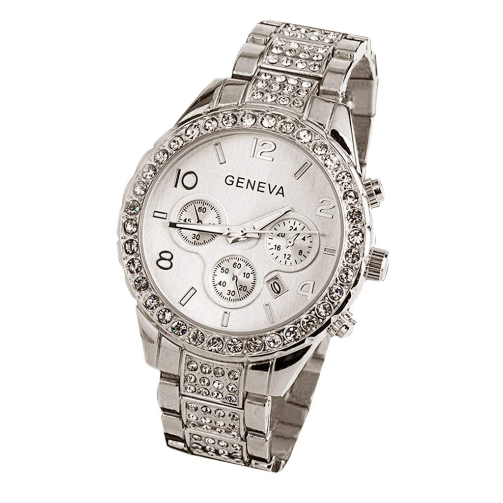 Amazon.com : XBKPLO Women Quartz Watch, Luxury Geneva Three-Eye Fashion Diamond Analog Wrist Watches Automatic Date Window Steel Strap : Pet Supplies