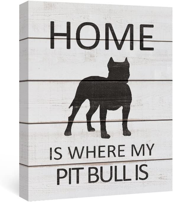 SUMGAR Black and White Wall Art Bedroom Modern Animal Pictures Grey Dog Canvas Paintings Gray Puppy Framed Artwork Quotes Sayings Prints Dorm Decor Front Door Home Decorations Pit Bull Gifts, 12x16 in