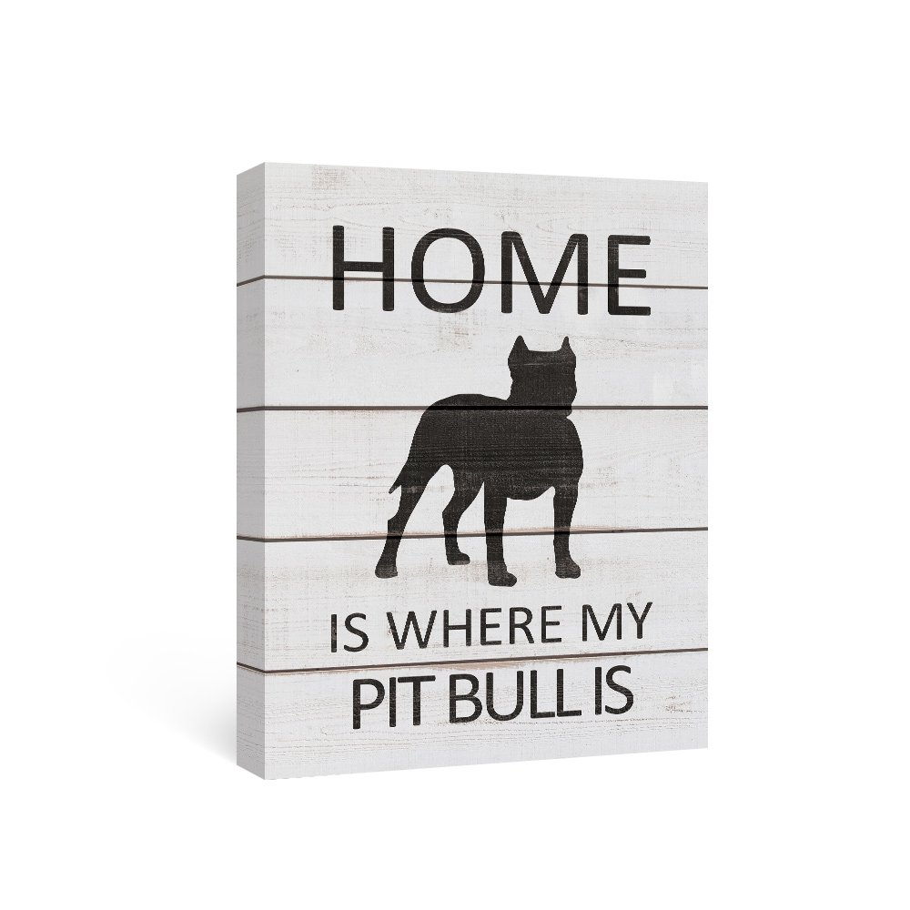 SUMGAR Black and White Wall Art Quotes on Canvas Paintings of Dog Home Decor for Black Pit Bull Gifts,12x16inch by SUMGAR (Image #1)