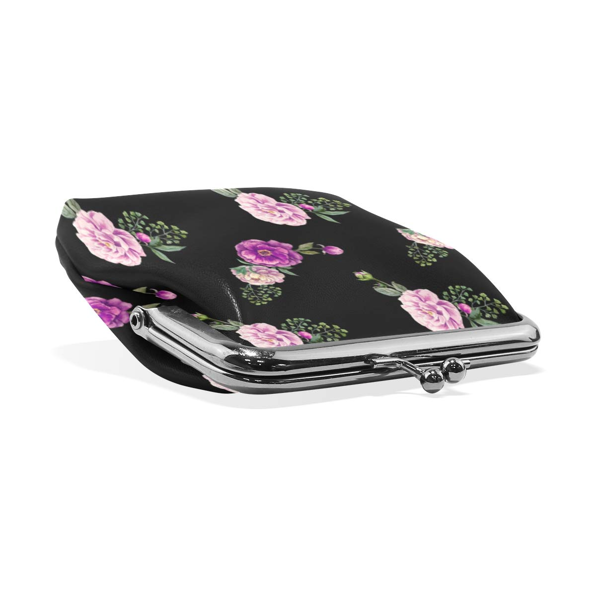 Watercolor Purple Floral Roses Coin Purse Buckle Vintage PU Pouch Kiss-lock Wallet for Women Girl