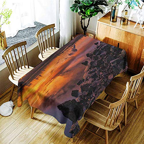 XXANS Custom Tablecloth,Landscape,USA Missouri Kansas City Scenery of a Sunset Lake Nature Camping Themed Art Photo,Dinner Picnic Table Cloth Home Decoration,W54x72L Multicolor -