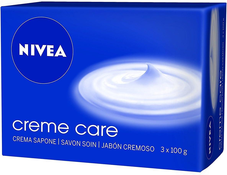 NIVEA Creme Care Jabón en pastilla en pack de 3 (3 x 100 g), jabón de manos con la fragancia de NIVEA Creme, jabón perfumado para una piel suave e hidratada