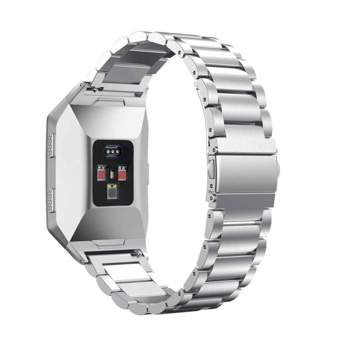 交換用バンド、neseeソリッドステンレススチールアクセサリー時計バンドストラップメタルバンドfor Fitbit Ionic シルバー シルバー B075YNMX93