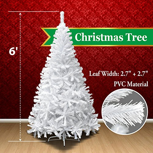 White Christmas Trees - BenefitUSA Classic Pine Artificial Christmas Tree with Metal Stand, 6' White