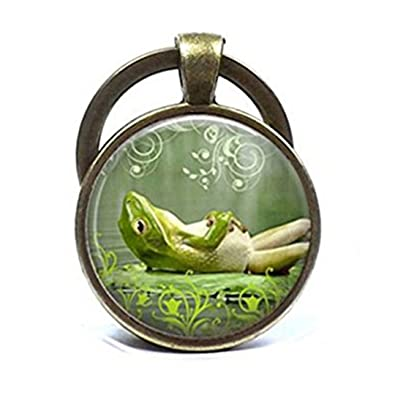 Lazy rana llavero Happy sonriente verde rana sapo único arte ...