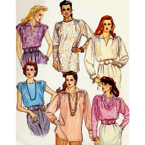 McCall's Easy Tunics, Tops, and Detachable Drape Sewing Pattern #4632 Size 10-12