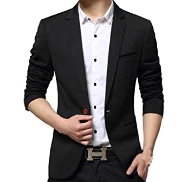66306a9a218 Slim Fit Casual Blazer Jacket for Men one Button XL Black at Amazon Men s  Clothing store