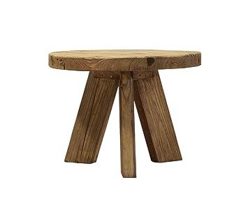 Table Cm Recyclé Basse Style En Pin Esprit Ronde Meubletmoi 60 vm0w8ONny