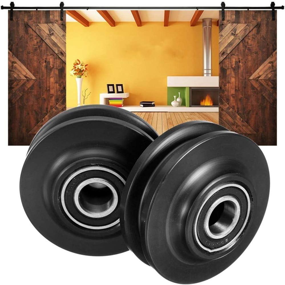 Polea de puerta corrediza de granero con rodamiento doble de 2 piezas, mantenga la puerta equilibrada, polea de ventana de gabinete corredera de puerta corrediza, para uso en el hogar, etc., negro