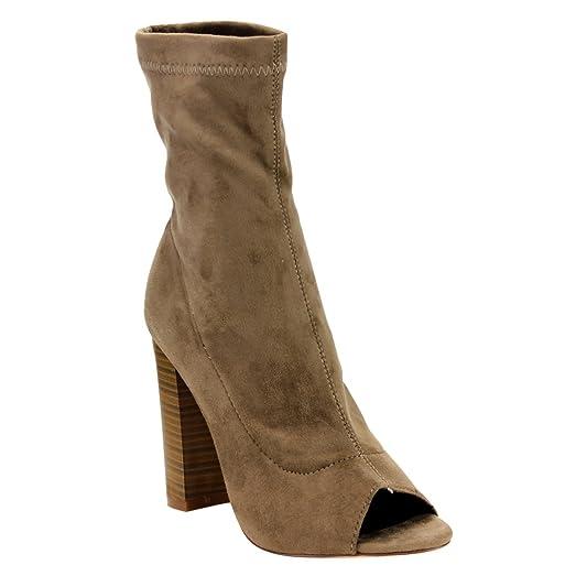 EF34 Women's Stacked Block High Heel Side Zipper Mid-Calf Boots