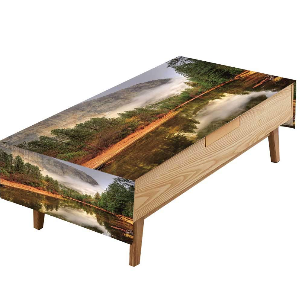 PINAFORE Tablecloth Waterproof Polyester Table Merced River Yosemite Valley National Park California in Autumn Kitchen Decoration Restaurant Decoration W60 x L90 INCH