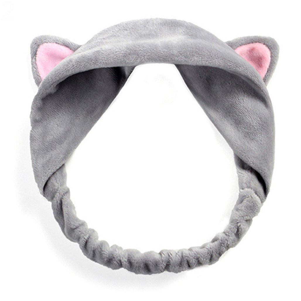 ink2055 Women Gils Cute Cat Ears Elastic Face Wash Headband Headdress by ink2055 (Image #1)