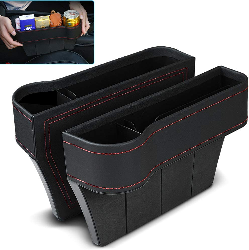 Car Seat Gap Filler Cup Holder Fismulk Car Seat Organizer Front Seat Premium PU Leather Seat Catcher Car Seat Gap Storage Box