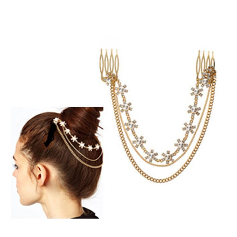 S& E® Women's Gold Plated Bling Tassel Combs Crystal Petals Pearl with Chains Hair Pins Seven And Eight CSWF-T018