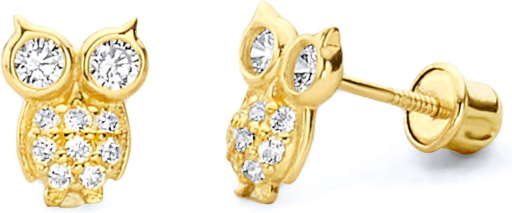 14K Yellow Gold Owl Stud Earrings