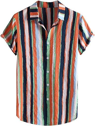SoonerQuicker Camisa de Hombre T Shirt Botón Casual de Moda para Hombre con Estampado de Rayas a Rayas en la Playa, Blusa de Manga Corta Blusa tee: Amazon.es: Ropa y accesorios