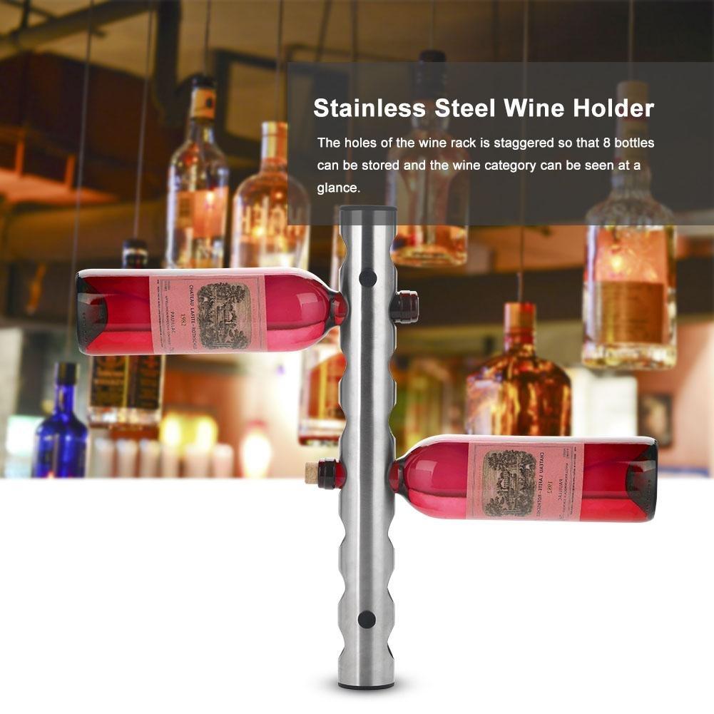 para Montar en la Pared o en la Pared 2 Tipos de botellero de Acero Inoxidable para Montar en la Pared de la Cocina o el hogar 8 Holes SOULONG Soporte para Botellas de Vino Color Plateado