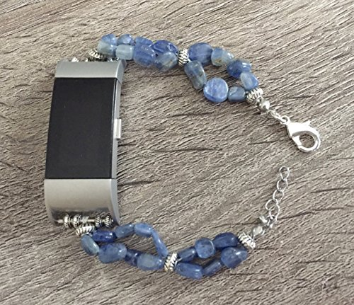 Two Stone Bead (Blue Kyanite Natural Stones Bracelet For Fitbit Charge 2 Fitness Tracker Natural Beads Band Silver Connectors Fitbit Charge 2 Handmade Accessory Fashion Jewelry Wristband)