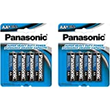 21Supply jghv 8X Panasonic AA Batteries, Heavy Duty Double A 1.5V Carbon Zinc 4Pk x 2, Black