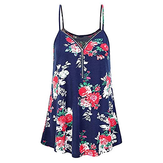 25e02dc79c5 Womens Summer Floral Printed Strap Dresses Casual Loose Off Shoulder Zipper  Deep V Neck Tank Tops