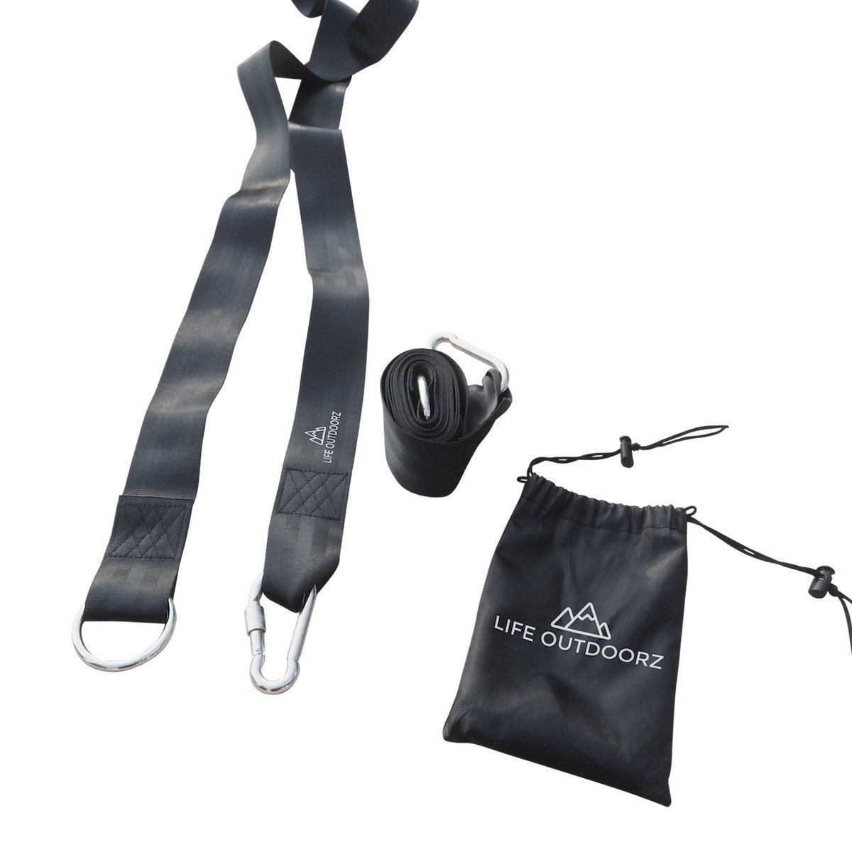 Jet Black Heavy Duty Polyester Anti Stretch Hammock Tree Straps - Holds up to 2204 Lbs - Quick Setup - Pair of Extra Long Straps with Black Nickle Plated Iron Carabineers + Instructions + Carry Bag by LIFE OUTDOORZ