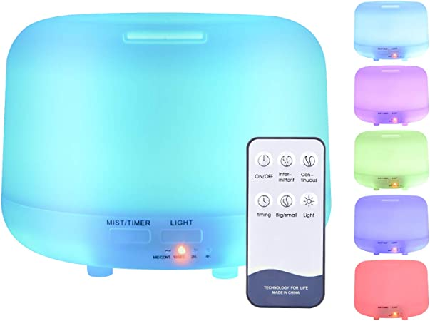 ZOESON Aroma Diffuser for Essential Oil, Aromatherapy Diffusers Ultrasonic Cool Mist Humidifier, 7 Color Changing LED Light for Bedroom Office (500ML)