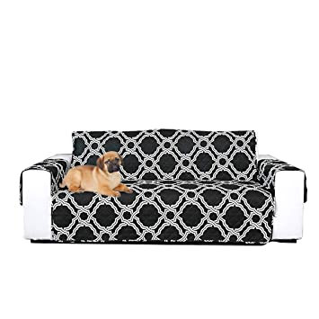 PETCUTE Fundas de sofá Fundas de sillones Antideslizantes Cubre Sofa de 3 plazas Protector Sofa Fundas sofá Negro