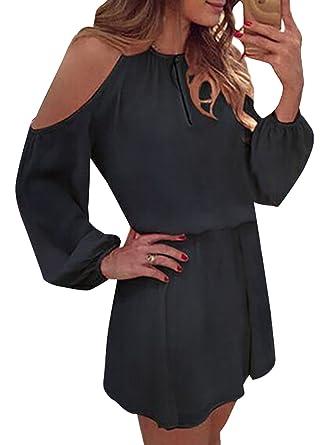 YOINS Damen Sommerkleider Minikleid Weit A Linie Hohe Taillen Schulterfrei  Langarm Kleider Strandmode  Amazon.de  Bekleidung 87b81e4b8a