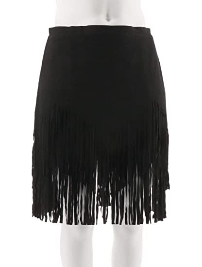 7049bcf65a Sheryl Crow Faux Suede Fringe Design Relaxed Mini Skirt Black 16W New  552-633 at Amazon Women's Clothing store: