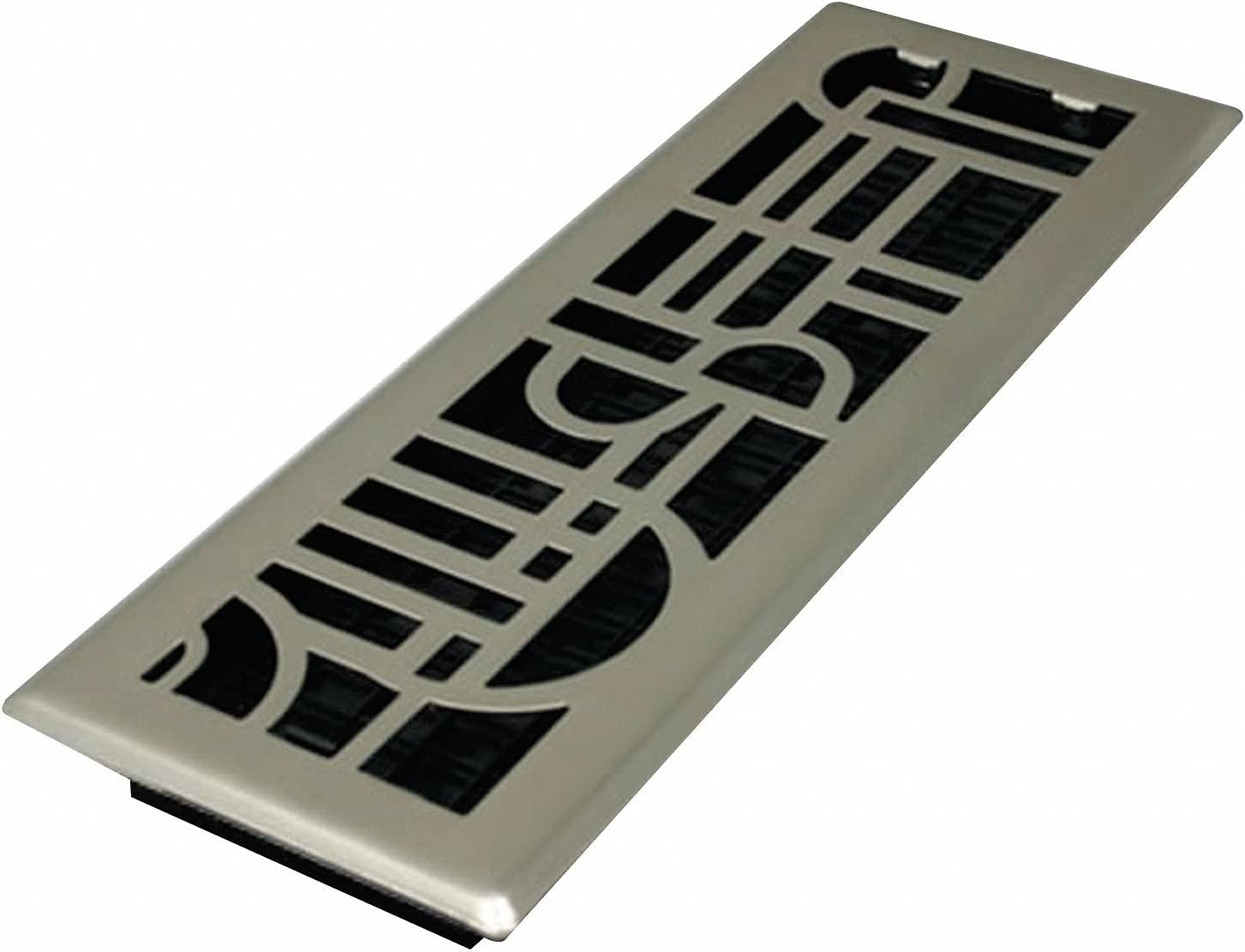 Decor Grates ADH414-NKL Art Deco Floor Register, Brushed Nickel, 4-Inch by 14-Inch by Decor Grates