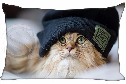 T60 nuevo gato con tocado funda de almohada 16 x 24 pulgadas ...