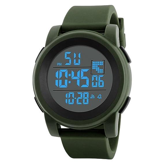 Reloj Deportivo al Aire Libre,Pwtchenty Hombres de Inteligente Reloj Digital LED Impermeable Reloj de Pulsera (una Talla, Verde): Amazon.es: Relojes