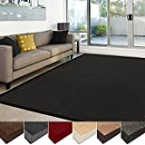 casa pura Sisal Rug | 100% Natural Fiber Area Rug | Non-Skid Eco-Friendly Throw Carpet for Entryway, Dining or Living Room | Various Colors and Sizes | Black - 6'x9'