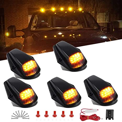 5pcs amber cab marker lights 12 led roof top clearance running lights w/wiring  harness