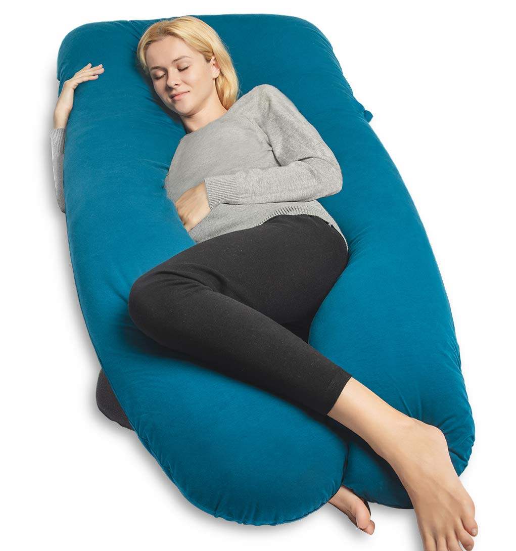 QUEEN ROSE Full Body Pillow U-Shaped Pregnancy Pillow for Pregnant Women and back pain,with Hypoallergenic Cotton Cover,Blue
