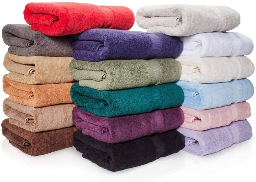"""900 GSM 100% Egyptian Cotton 6-Piece Towel Set - Premium Hotel Quality Towel Sets - Heavy Weight & Absorbent - 2 Bath Towels 30"""" x 55"""", 2 Hand Towels 20"""" x 30"""", 2 Washcloths 13"""" x 13"""" Charcoal: Home & Kitchen"""