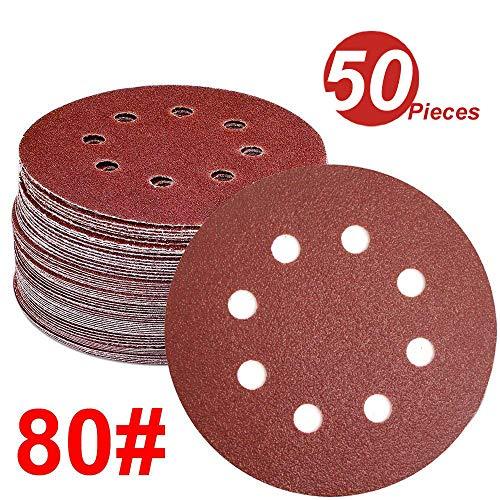 WINGONEER 50PCS Sanding Discs Pads, 5-Inch 8-Hole 80-Grit Hook and Loop Aluminium Oxide Sandpaper for Random Orbital Sander