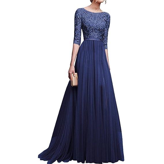 Shujin - Vestido de Novia - Corte Imperio - Mujer Azul S: Amazon.es: Ropa y accesorios
