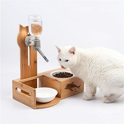 Botella De Agua Automática Cat + Cuenco De Cerámica Con Soportes De Madera- Dispensador De