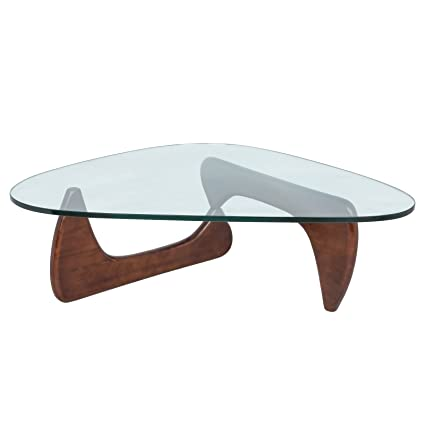 Amazoncom LeisureMod Imperial Glass Top Triangle Coffee Table - Triangle picnic table