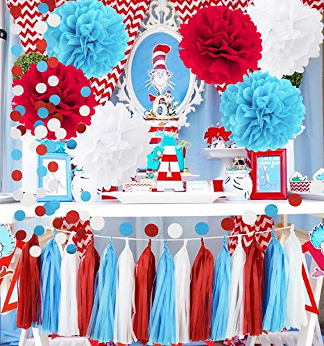Bridal Shower Decorations Turquoise White Red Tissue Pom Pom with Circle Paper Garland for Baby Shower Decorations/Birthday Decorations/Aqua Red Wedding Decorations