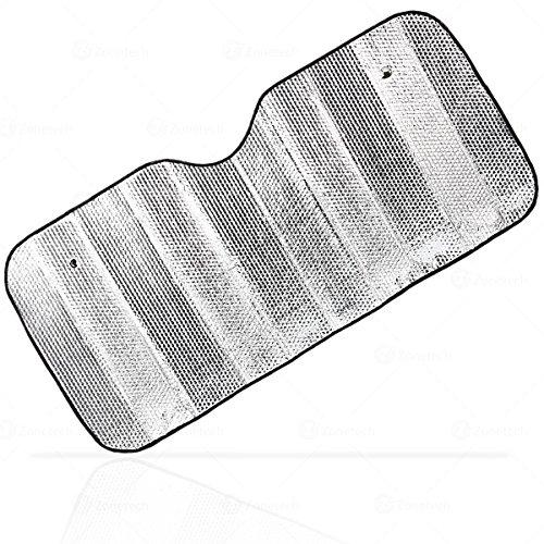 Silver Car Foldable Sun Shade - Zone Tech Premium Quality Accordion Metallic Reflective Car Sun Shade