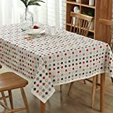 """YJ Bear Cotton Linen Red Blue Star Print Rectangle Tablecloth Desk Cover Table Cover for Home Decoration Table Cloth for Dinner Washable 55"""" X 86.6"""""""