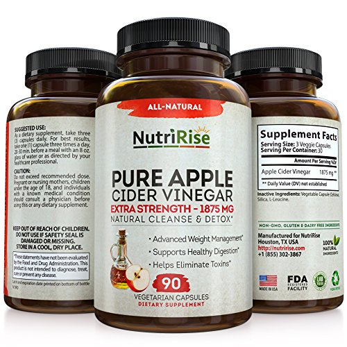 NutriRise Apple Cider Vinegar Capsules 1875mg | 100% Raw, Non-GMO & Non-Stimulating Diet Pills | Detox, Cleanse, Boost Metabolism & Improve Digestion | Men & Women | Pack of 90