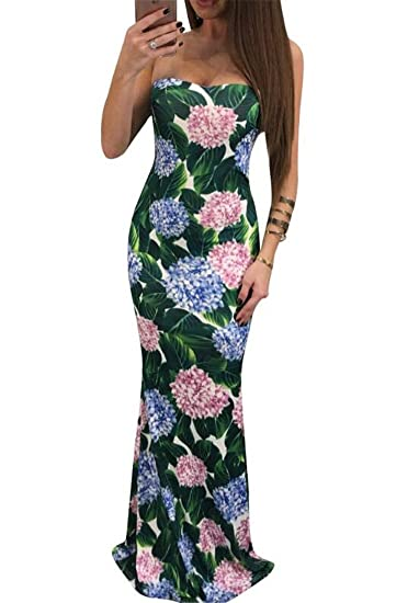 Kljr Women Summer Bandeau Dresses Strapless Floral Print Long Maxi